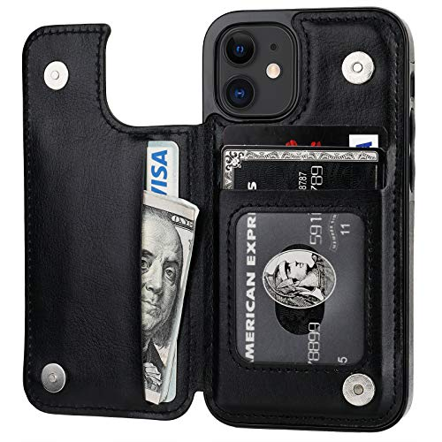 ONETOP Compatible with iPhone 12 Mini Wallet Case with Card Holder, PU Leather Kickstand Card Slots Case, Double Magnetic Clasp and Durable Shockproof Cover 5.4 Inch(Black)