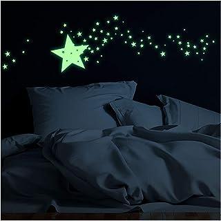 Stickers adhésifs Phosphorescent | Sticker Autocollant Lumineux étoiles filantes - Décoration Murale Fluorescente | 20 x 2...