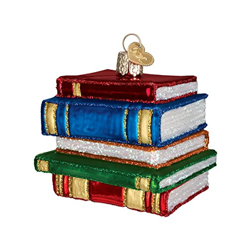 Old World Christmas Ornaments: Stack Of Books Glass Blown Ornaments for Christmas Tree (32112)