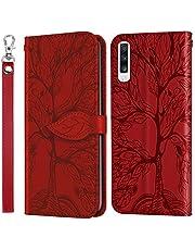 Hoesje voor Galaxy A70 / A70S PU Lederen Flip Cover Notebook Portemonnee Telefoonhoesje met Magnetische Sluiting Stand Card Houder ID Slot Folio voor Samsung Galaxy A70/A70S - EYRX010142 rood
