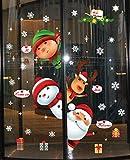 UMIPUBO Natale Adesivi Porta Natale Vetrofanie Addobbi Rimovibile Adesivi Statico Fai da te Finestra Sticker Decorazione Babbo Natale Vetrina Wallpaper Adesivi (Natale 2)