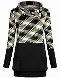 Miusey Womens Raglan Long Sleeve Cowl Neck Pullover Casual Tunic Sweatshirts with Pockets