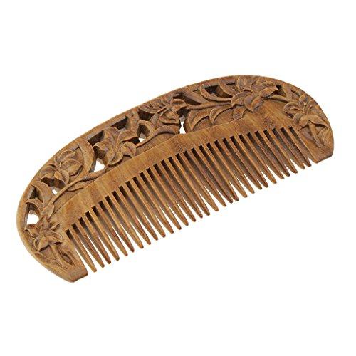 Homyl Antistatique Peigne en bois avec Gravure de Fleur pour Massage Peigne Démêloir sous de fines Dents