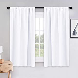 Best PONY DANCE Curtains 45 inch Length - Window Drapes Double Panels Home Decor Rod Pocket Curtain Draperies for Kitchen & Bedroom Privacy Protect Semi-Blackout, 42 by 45 inch, Pure White, 2 Pieces Reviews