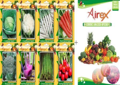 GEOPONICS Semi di cavolo, cavolfiore, daikon, Rosso, Broccolo, Knol Khol viola Viena, Bacchette, e Rapa Red Ball Seed (20 per pacchetto)