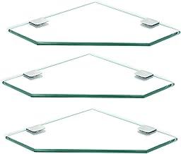 XBSXP Étagères d'angle en Verre Salle de Bain Cuisine Support de Rangement étagère en Verre trempé Accessoires de lavabo M...