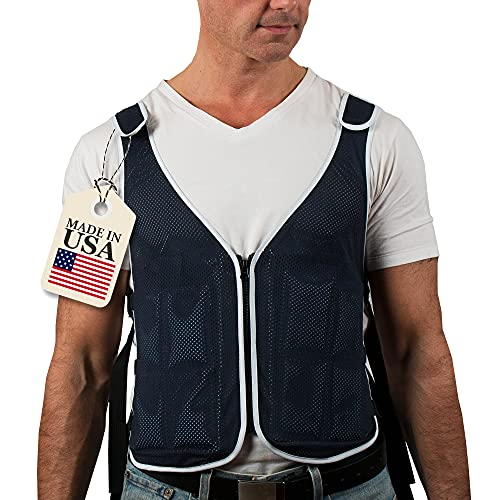 Cooling Vest for Men & Women Made in USA, Adjustable, S - XXL, 4 x Ice Gel Pack, ChillSwift Lightweight Ice Shirts for Motorcycle, Mascots Suit, MS, Cooking, Bike Riding & More