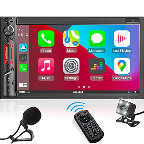 aboutBit Double-DIN in-Dash Car Stereo Receiver - CarPlay Multimedia MP5 Player with Bluetooth, Phone Mirroring, 7  HD Capacitive Touchscreen, Rearview Cam, 16-Band EQ, USB SD Port, AM FM Car Radio