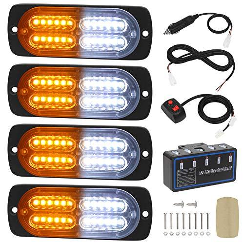 Linkitom 4pcs Ultra Slim Sync Feature 24-LED Car Truck Surface Mount Emergency Hazard Warning Strobe light (Amber&White)