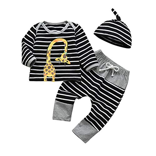 3PCS Newborn Baby Boy Clothes Giraffe Printed Long Sleeve Stripe T-Shirt Pants and Hat Outfit Set (6-9 Months)
