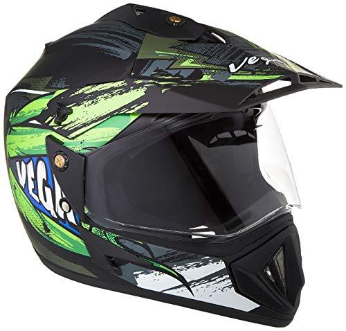 Vega Off Road D/V Fighter Dull Black Green Helmet, M