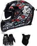 XLYYHZ Casco Moto Integrale Casco Moto omologato DOT Ciclomotore Street Bike Racing Crash, Uomini e Donne (Pagliaccio Nero, Medio)