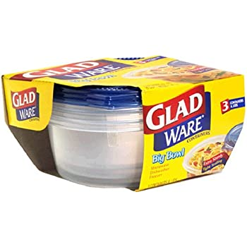 GladWare Big Bowl Containers with Lids, Round Size, 6 Cups 3 containers