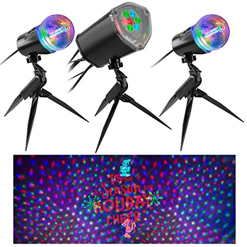 Gemmy Orchestra of Lights Set of 3 Projection Mickey Mouse Disney Spotlights Christmas Indoor/Outdoor Stake Light Projectors