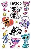 AVERY Zweckform 56675 Tattoo Kinder 17 Stück (Temporäre Tattoos Katzen, Kinder Tattoo wasserfest, Klebetattoos, Kindergeburtstag, Mitgebsel, Partyspiele Preise, Kinder zum Spielen, Tattoo Mädchen)