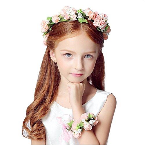 KMALL Rosa bianca coroncina fiori capelli con bracciale fiore per sposa damigella d'onore bambina donna per matrimonio fotografia corona ghirlanda fiori fascia fiori