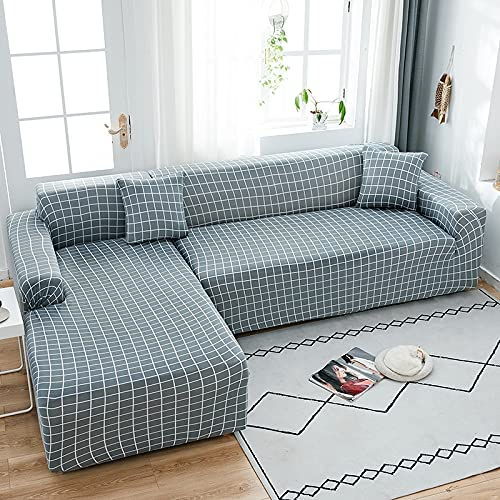 ASCV Hochelastische Sofabezüge Chaiselongue für das Wohnzimmer rutschfeste Sofabezüge Slipcover Schnittcouch Eckbezug A6 3-Sitzer