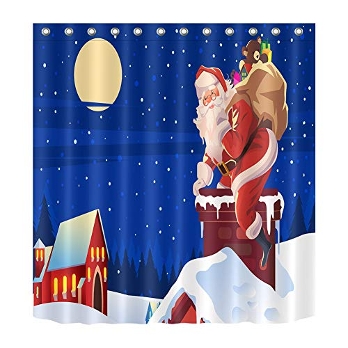 ZZZdz Kerstman Fa rekken in open haard, tent, douchegordijn, badkameraccessoires, 180 x 180 cm, 3D-druk, HD-print – waterdicht.