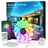 Led Strip Lights, 16.4ft Bluetooth APP Controller RGB LED Light Strip, 5050 LEDs Music Sync Color Changing LED Strip Lights Kit with Remote and 12V Power Supply for Bedroom, Room, Home Decoration