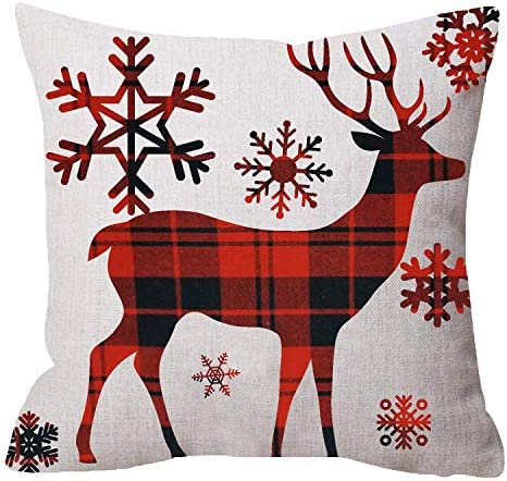 FJPT Throw Pillow Cover Merry Christmas Greetings Baby Its Cold Outside Snowflakes Deer Reindeer product image