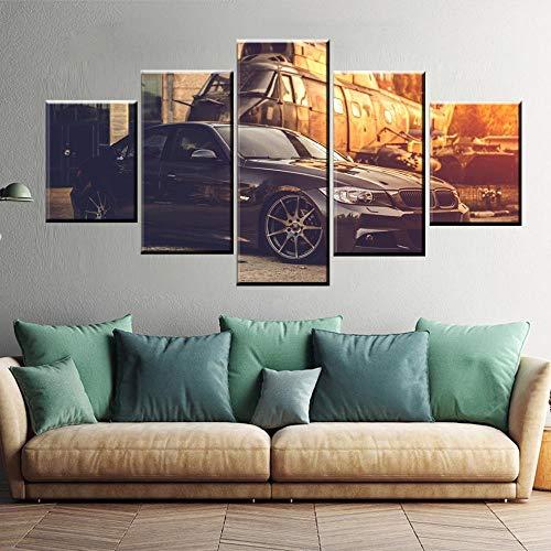 Decoración para el hogar Impresiones en HD 5 piezas de pintura de coches y aviones retro clásicos Imágenes Arte de la pared Cartel de lienzo modular Dormitorio moderno Sin marco-30x40_30x60_30x80cm