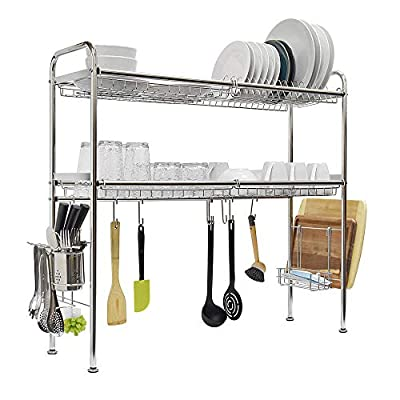 304 Stainless Steel Over Sink Kitchen Dish Drying Rack, Double Layer, with Holders and Attachment Organizers by