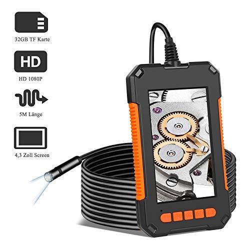 Endoskopkamera GEEUMI Industrieendoskop Schlangenkamera Endoskop mit 8 einstellbaren LED-Licht Inspektionskamera wiederaufladbare wasserdichte 5M Kabel Rohrkamera, 2600mAh Akku, 32GB TF Karte