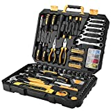DEKOPRO 208 Piece Tool Set, Plastic Toolbox Storage Case with General Household Hand Tool Kit