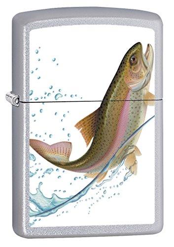Zippo Lighter: Jumping Trout - Satin Chrome 75588