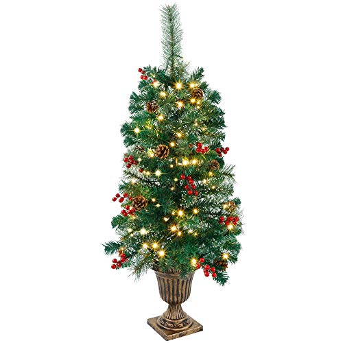 Juegoal 3 FT Christmas Tree, Pre-Lit Crestwood Spruce Entrance Tree with 100 LEDs Fairy Lights, Pine Cones, Red Berries in Gold Urn Base for Front Door, Porch, Entryway Xmas Home Decorations, 1 Pack