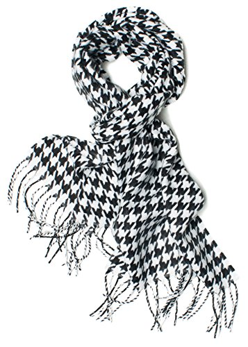 DRY77 Regular Size Black and White Houndstooth Scarf