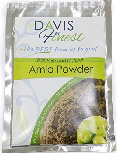 Davis meilleurs Amla Poudre–Soin naturel pour endommagés bouclés Cheveux ternes Mous–La pousse des cheveux Traitement fortifiant et épaississant Produit–Shining soyeux brillant Cheveux (100g)