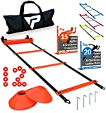 Pro Agility Ladder and Cones – 15 ft Fixed-Rung Speed Ladder with 12 Disc Cones for Soccer, Football, Sports...