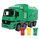 IVNZEI Müllauto, Simulation Inertia Sanitation Auto-Modell-Spielzeug Friction Powered Pull Back Müllfahrzeuge mit drei Trash Can Geschenk for Kleinkind-Jungen und Mädchen Kinder