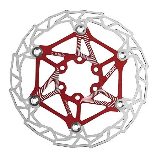 KOKO Zhu 2 Piezas Rojo para Bicicleta de Carretera Bicicleta de montaña MTB BMX Bicicleta Disco de Freno Flotante Rotor 160 mm con 6 Pernos