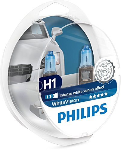 Philips WhiteVision Xenon Effect H1 Headlight Bulb 12258WHVSM, Twin Pack