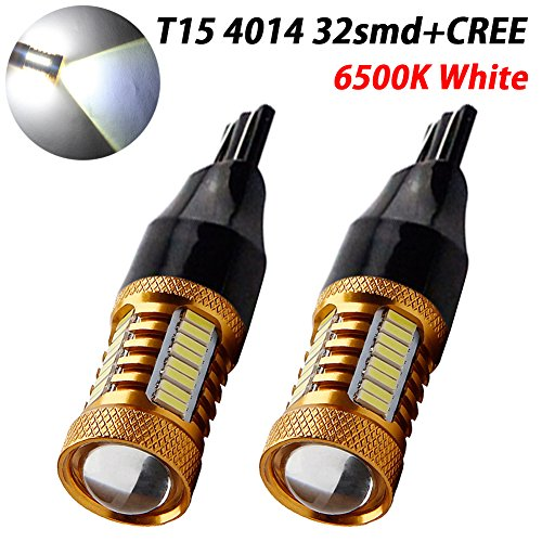 TABEN Objectif de projecteur 1200Lums extrêmement Lumineux Canbus sans Erreur 921 912 W16W T15 AK-4014 32pcs Chipsets CREE Ampoules LED pour Feux de recul, Blanc xénon 6000K 12V-24V (Pack de 2)