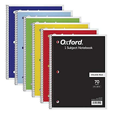 """TOPS/Oxford 1-Subject Notebooks, 8"""" x 10-1/2"""", College Rule, 70 Sheets, 6 Pack, Color Assortment May Vary (65007)"""