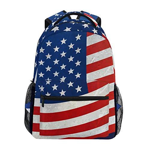Daypack American Flag Stars and Stripes Rucksack Schule College Reisen Wandern Fashion Laptop Rucksack für Damen Herren Teenager Casual Schultaschen Canvas