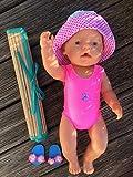 Puppenkleidung handmade Badeanzug + Hut + Badelatschen + Bastmatte für Baby Puppe Gr. 43 cm Badeset 2 -/ oder 4-teilig Sommerset Badeset Puppenbadeanzug