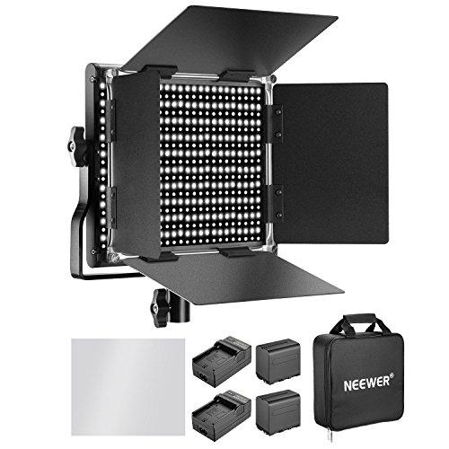 Neewer 660 Luz de Video LED Bicolor 3200-5600K CRI 96+ Ajustable con Batería Recargable 6600mAh Barndoor Cargador de Soporte en U para Cámara Estudio Fotográfico Grabación de Video( Negra)