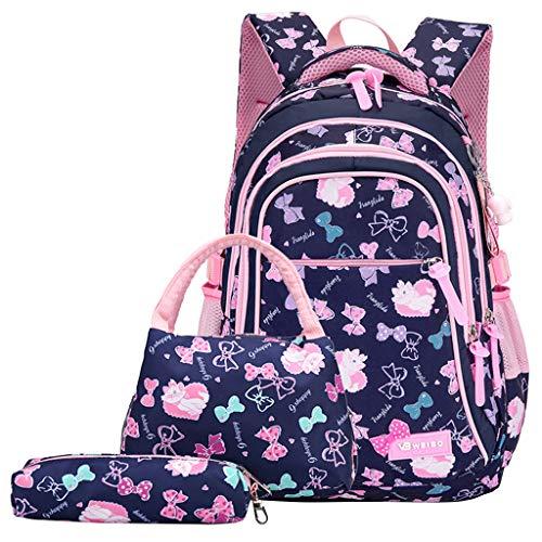 Mochila para niños 3pcs Pink Girls School Bag Nylon a Prueba de Agua con Bolsa de Almuerzo Estuche de lápices para Mochila Childern, Bowknot Print 6-13 años niños Adolescentes y Estudiantes.