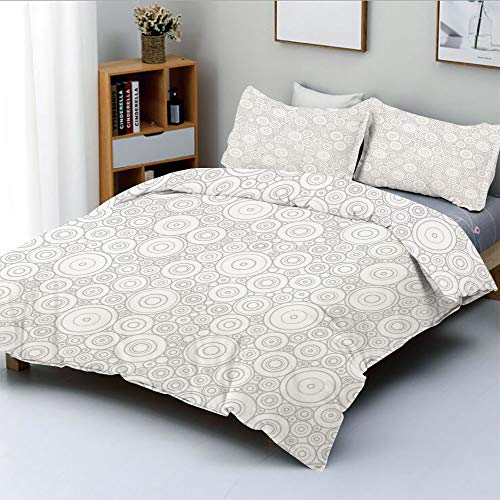 Duplex Print Duvet Cover Set King Size,Different Sized Circles and Rounds Simple Geometric Style Graphic Print Shabby Home DecorDecorative 3 Piece Bedding Set with 2 Pillow Sham,Grey White,Best Gift F