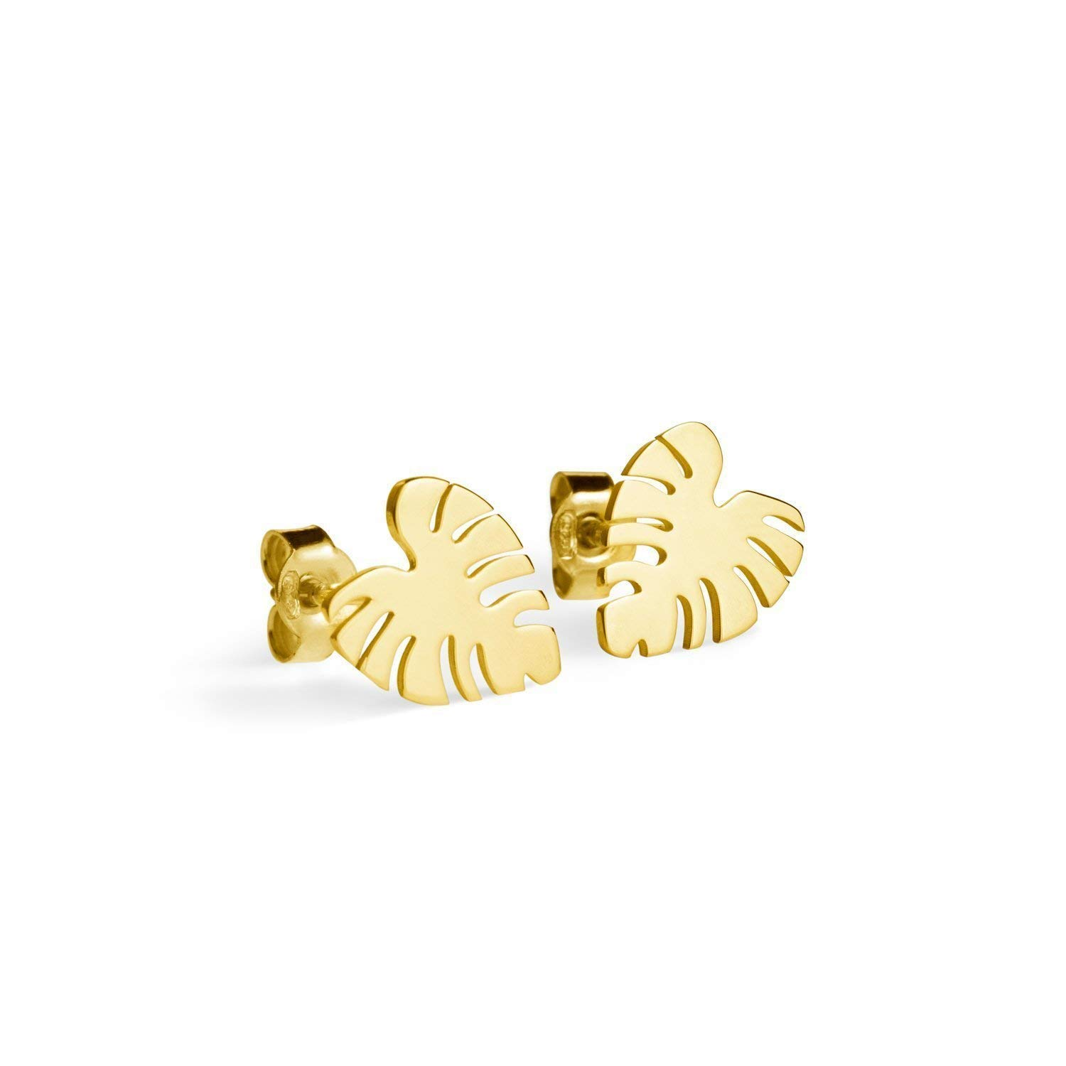 Tropical Safety and trust Leaf Studs 9K 14K Quantity limited Yellow Gold Earrings 18K