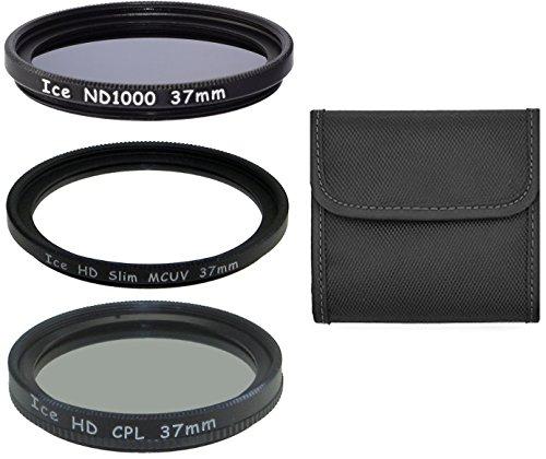 Juego de 3ICE 37mm ND1000–Filtro UV, CPL & cristal óptico de densidad neutra ND 10003710Stop