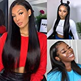 Brazilian Virgin Hair 20 inch Straight Lace Front Wigs 4x4 Lace Closure Wigs 100% Unprocessed Free Part with Baby Hair Remy Human Hair Wigs for Black Women Straight Hair 150% Density