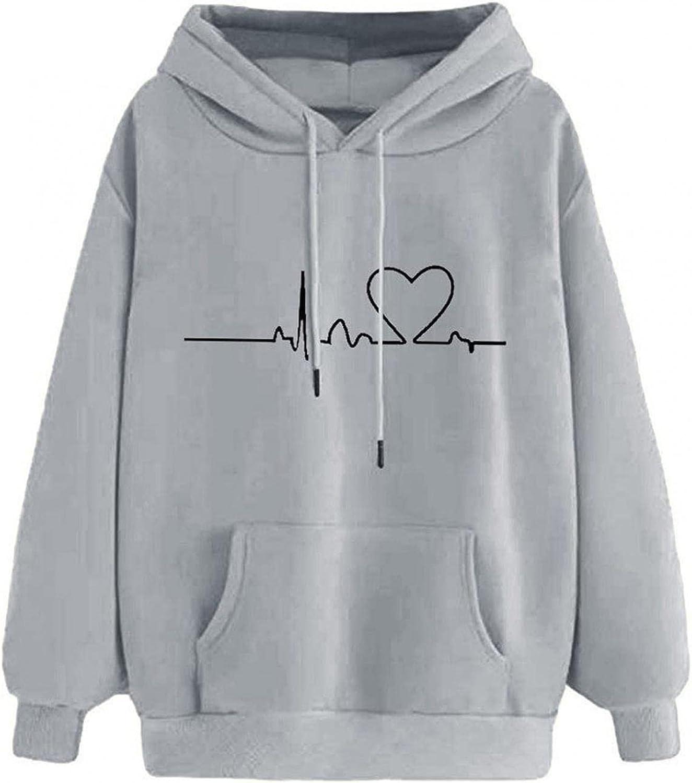 ONHUON Cute Hoodies for Women,Womens Heart Printed Sweatshirt Long Sleeve Tops Loose Hoodies Teen Girls Casual Pullover