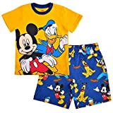 Disney Boy's 2-Piece Mickey and Friends Tee and Short Set, Yellow/Blue, Size 4T