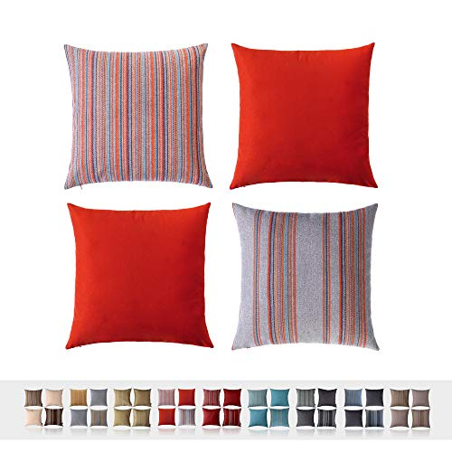 HPUK Set of 4, Decorative Pillow Cover, Stripe and Solid Color Pillowcase for Couch, Sofa, Bedroom, Car, Office, Holiday Decor, 17