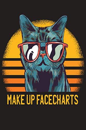 Make up Facecharts: Gesichtsvorlagen zu eintragen von Make Up Looks und den verwendeten Produkten   Deutsche Facecharts   Geschenkidee   Mietze Katze mit Brille